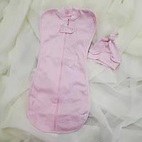 """""""Розовый горошек"""" шапочка+ пеленка для новорожденных, фото 1"""