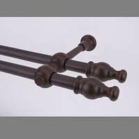 Карниз деревянный Прато двойной коричневый 25/25мм/300СМ
