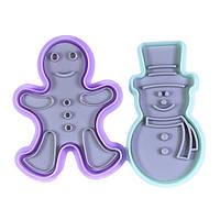 """Набор из 2 пластиковых формочек с поршнем для вырезания печенья """"Имбирный человечек и Снеговик"""" Fissman (8558), фото 1"""