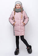 Зимняя куртка для девочки ZKD 7 в комплекте с вязанным хомутом р. 134-164 см цвет розовый