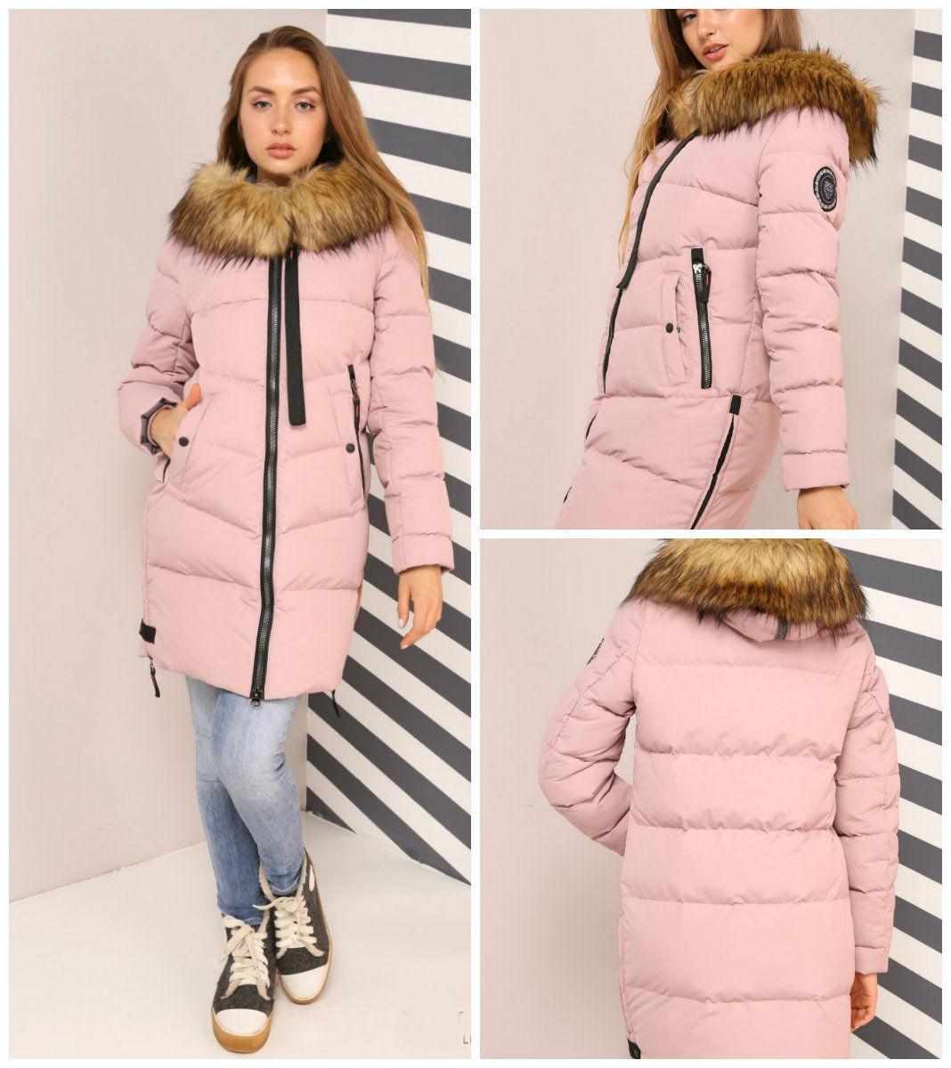 Стильная теплая зимняя куртка Фабьен, наполнитель биопух 42-56