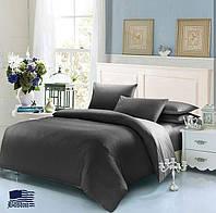Комплект постельного белья Евро Сатин Черный + Серый цвет