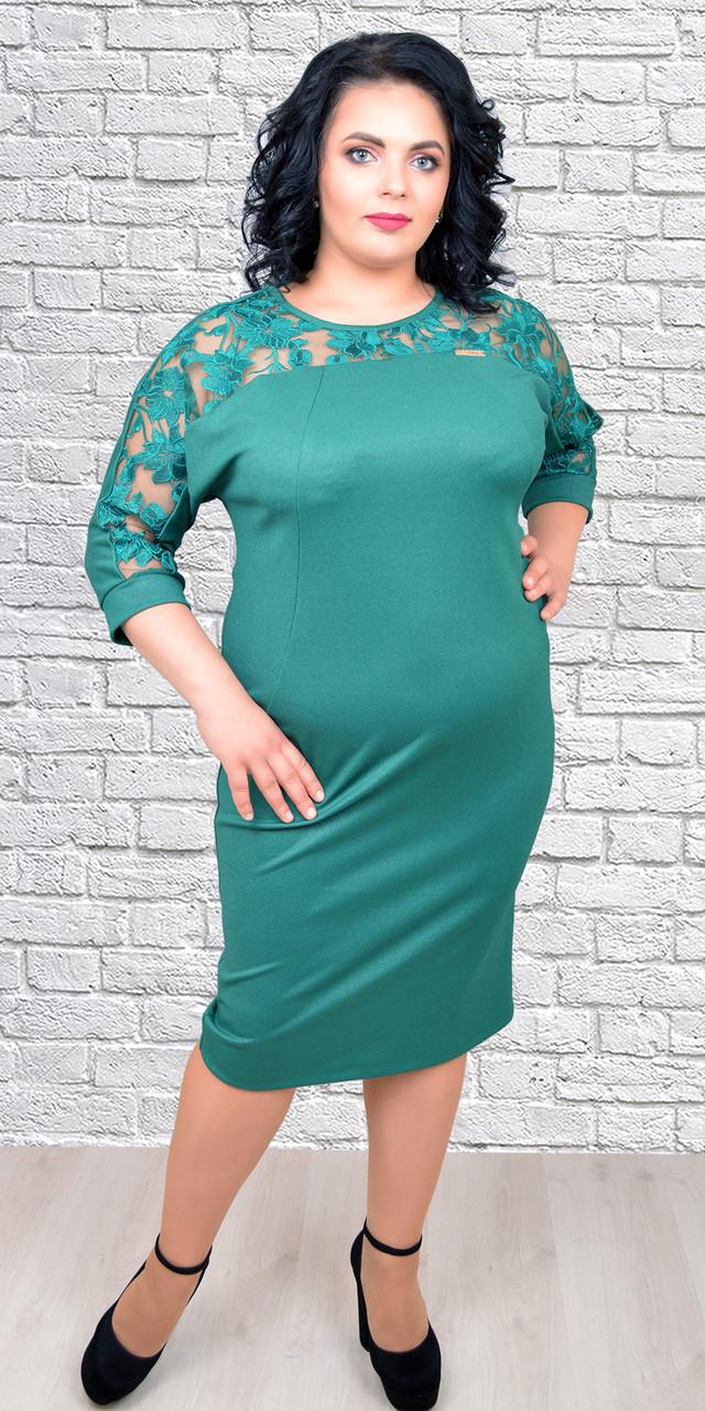 58f258e1958 Женское трикотажное платье с о вставкой из кружева на груди
