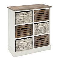 Ретро комод в спальню Home4You HARDY c 3 деревянными корзинами и 3 тканевые, 62x33xH68cm, антично-коричневый/р