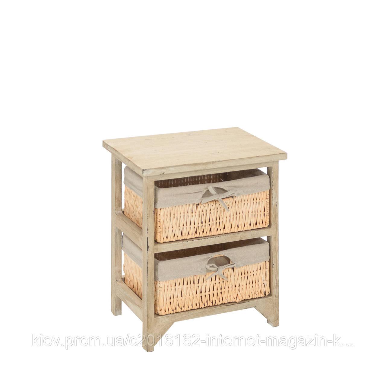 Комод античный маленький Home4You HARDY на 2 ящика, 35x27xH42cm,антично-коричневый