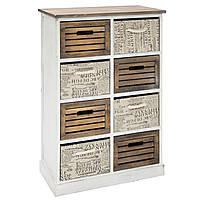 Ретро комод для спальни стильный большой Home4You HARDY c 4 деревянными корзинами и 4 тканевые, 62x33xH88cm, а