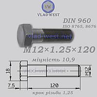 Болт с мелкой резьбой М12х1,25х120 DIN 960 прочность 10,9 черный (без покрытия)
