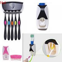 Диспенсер для зубной пасты + держатель зубных щеток R16394 пластик, 15*10*8см, разные цвета, товары для ванной, аксессуары для ванных комнат
