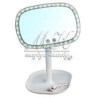 Зеркало многофункциональное с  LED подсветкой + USB, белое, розовое (люкс)