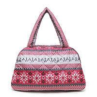 1448fd254ac5 Женская стеганная сумка-саквояж POOLPARTY с северным орнаментом Красный ( ns-2-nordic