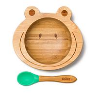 Детская тарелка на присоске с ложкой Бабака 250 мл Зелёная (F021502)
