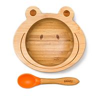 Детская тарелка на присоске с ложкой Бабака 250 мл Оранжевая (F021504)