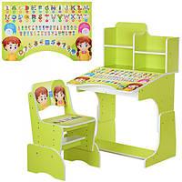 Детская парта-трансформер со стульчиком Алфавит Bambi B 2071-16 салатовый | Парта дитяча