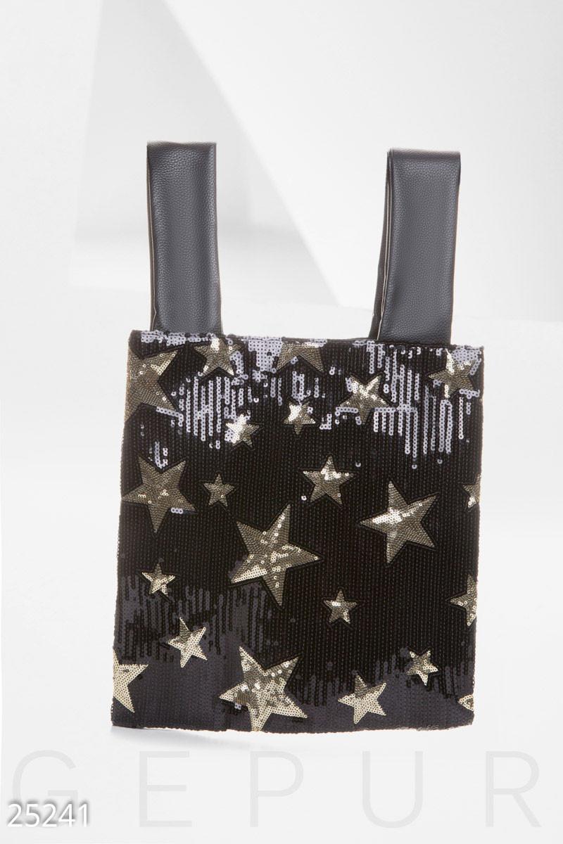 Оригинальная сумка шоппер с звездами из пайеток