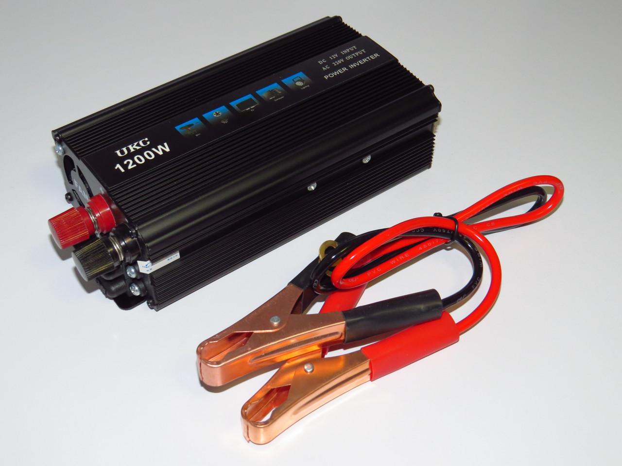 Преобразователь напряжения 12V-220V 1200W UKC инвертор