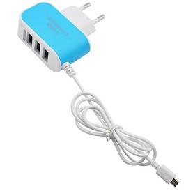 Зарядное универсальное на 3 USB+micro USB адаптер
