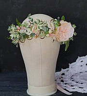 Венок с цветком розы Д.Остина нежно-персикового цвета, фото 1