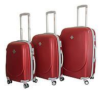 Чемодан Bonro Smile с двойными колесами набор 3 штуки бордовый