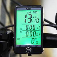"""Велокомпьютер SunDing SD-576A проводной, экран 2.4"""" с подсветкой, выносная кнопка, датчик температуры и света"""