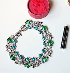 Колье женское Эйфория зелено- голубое , магазин бижутерии