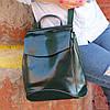 """Женский кожаный рюкзак-сумка(трансформер) """"Анжелика Green"""""""