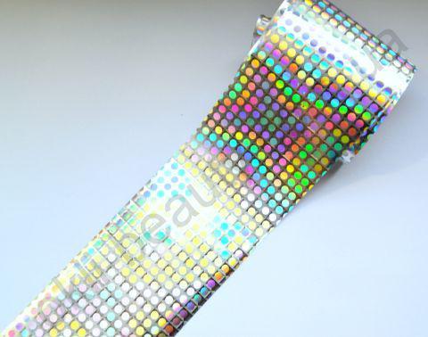 Фольга для дизайна ногтей, литья (переводная). Цвет: глянцевая серебро крупные точки (Размер: 4см на 1 метр)