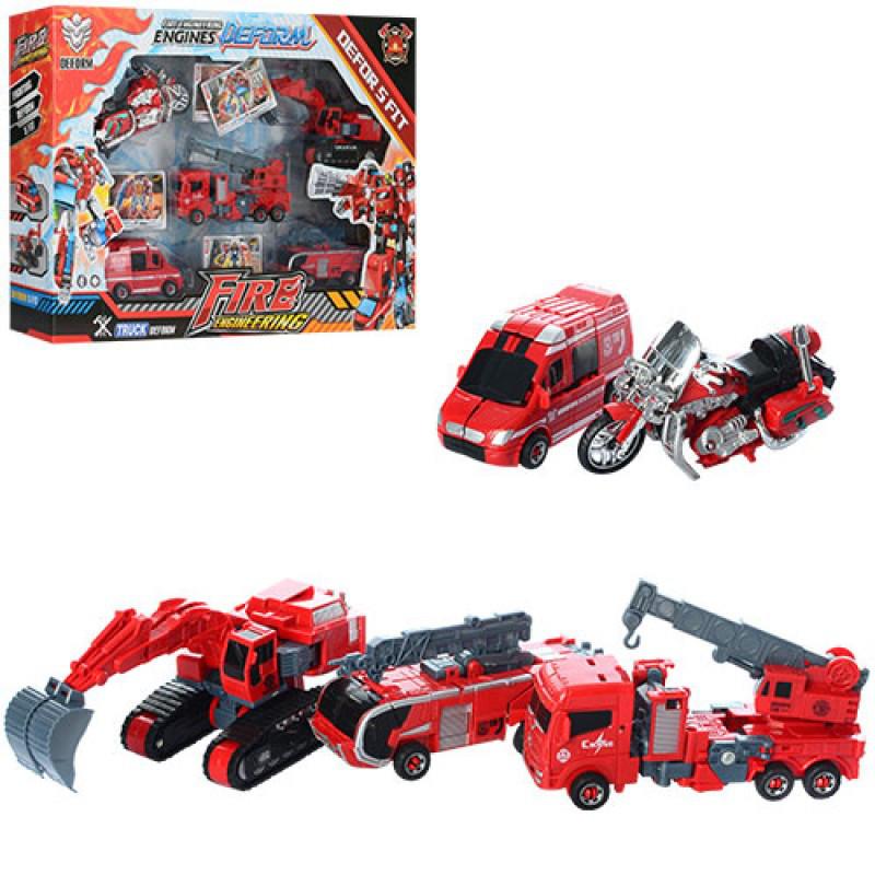 Трансформер Пожарный собирающийся из пожарной техники, пожарные машинки, 5 в 1, 899-46