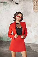 Терракотовый женский костюм Виктория из юбки и  короткого жакетика без застежки. Арт-7210/58, фото 1