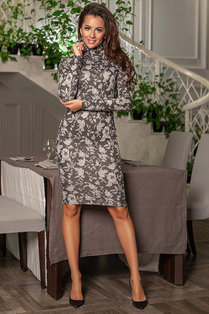 Облегающее платье миди с длинным рукавом, с цветочным принтом  /3  цвета   арт 6752-591