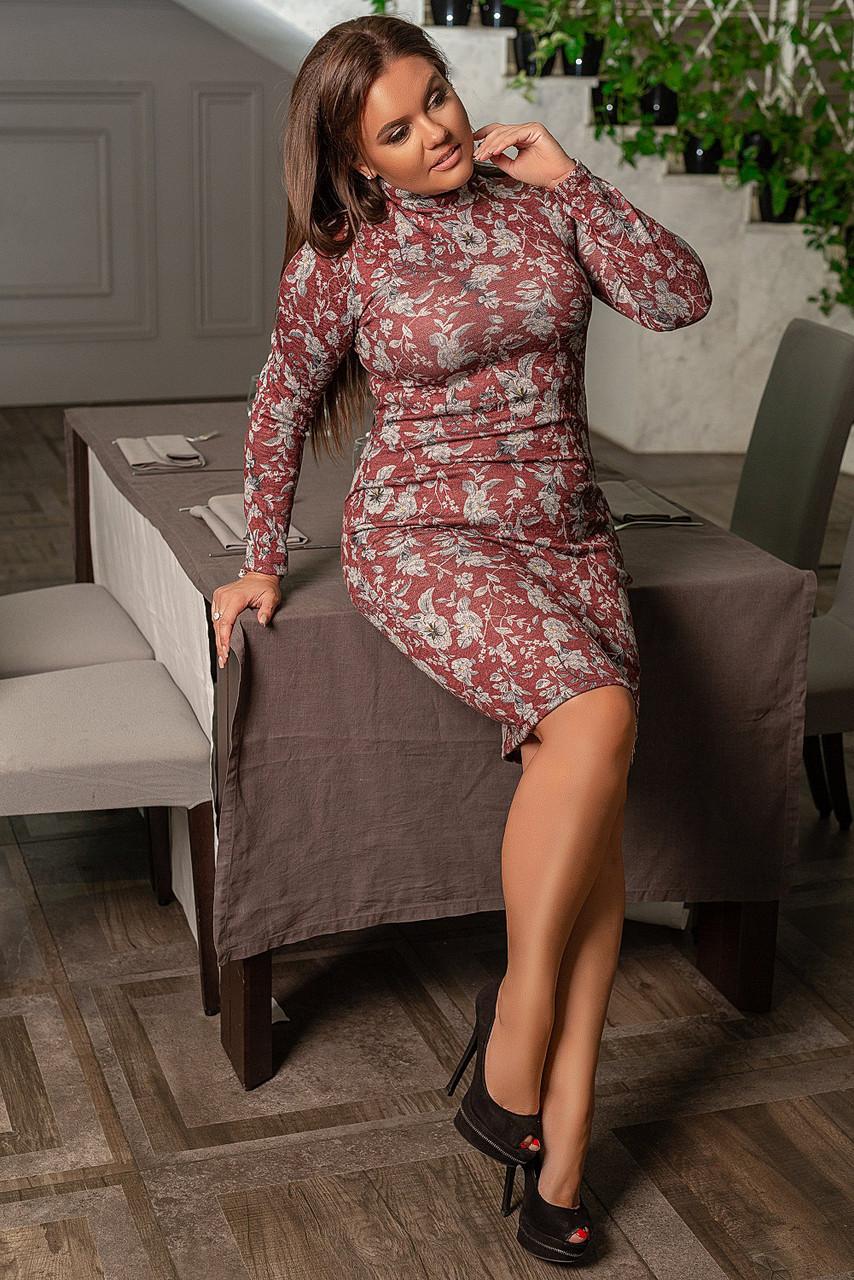 Облегающее платье миди больших размеров 50+ с длинным рукавом, с цветочным принтом  /3  цвета   арт 6753-591