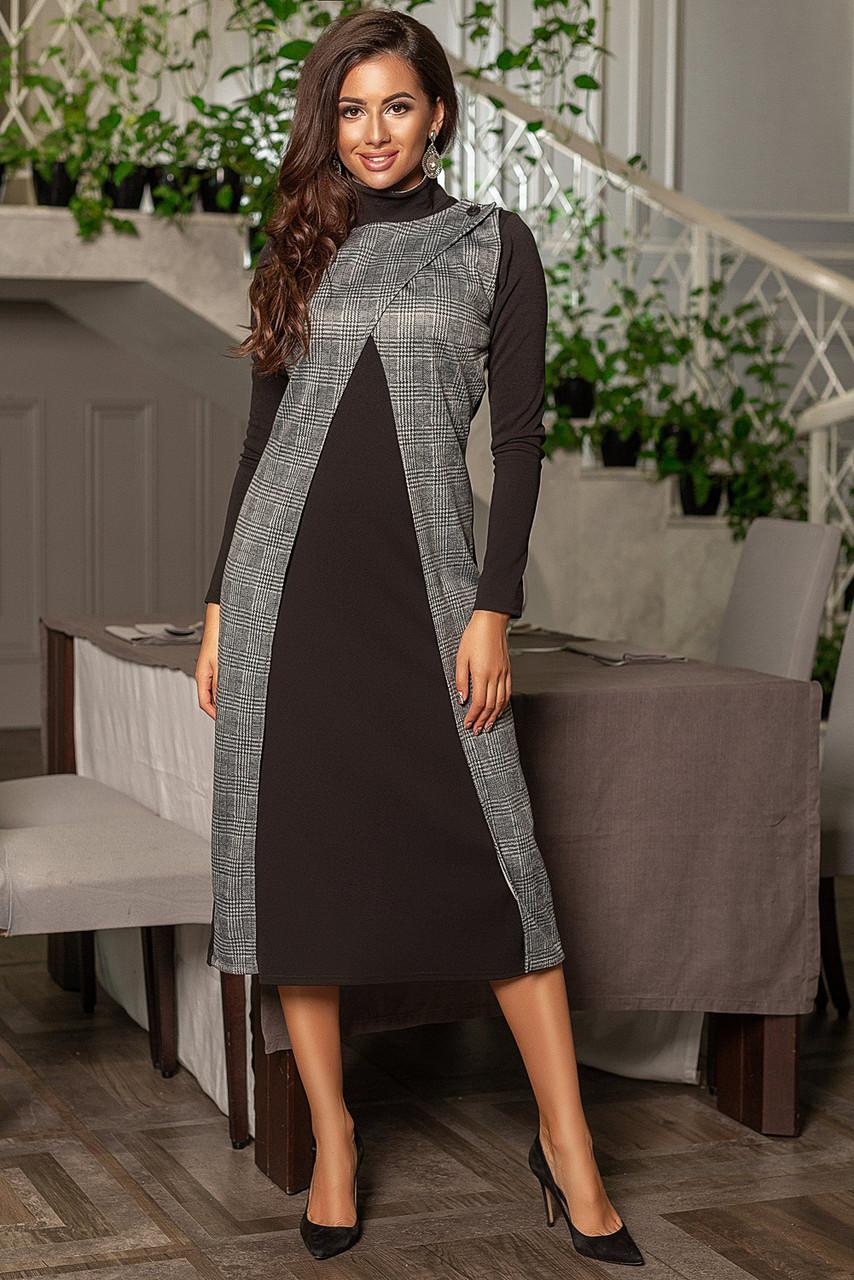 Комбинированное платье с длинным рукавом, клетка принт / 2 цвета   арт 6756-591