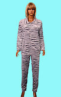 Махровый домашний костюм женский на молнии Шиншилла