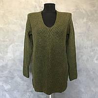 Женский свитер 1/1. Размер S, M, L. Зеленый, Белый, фото 1
