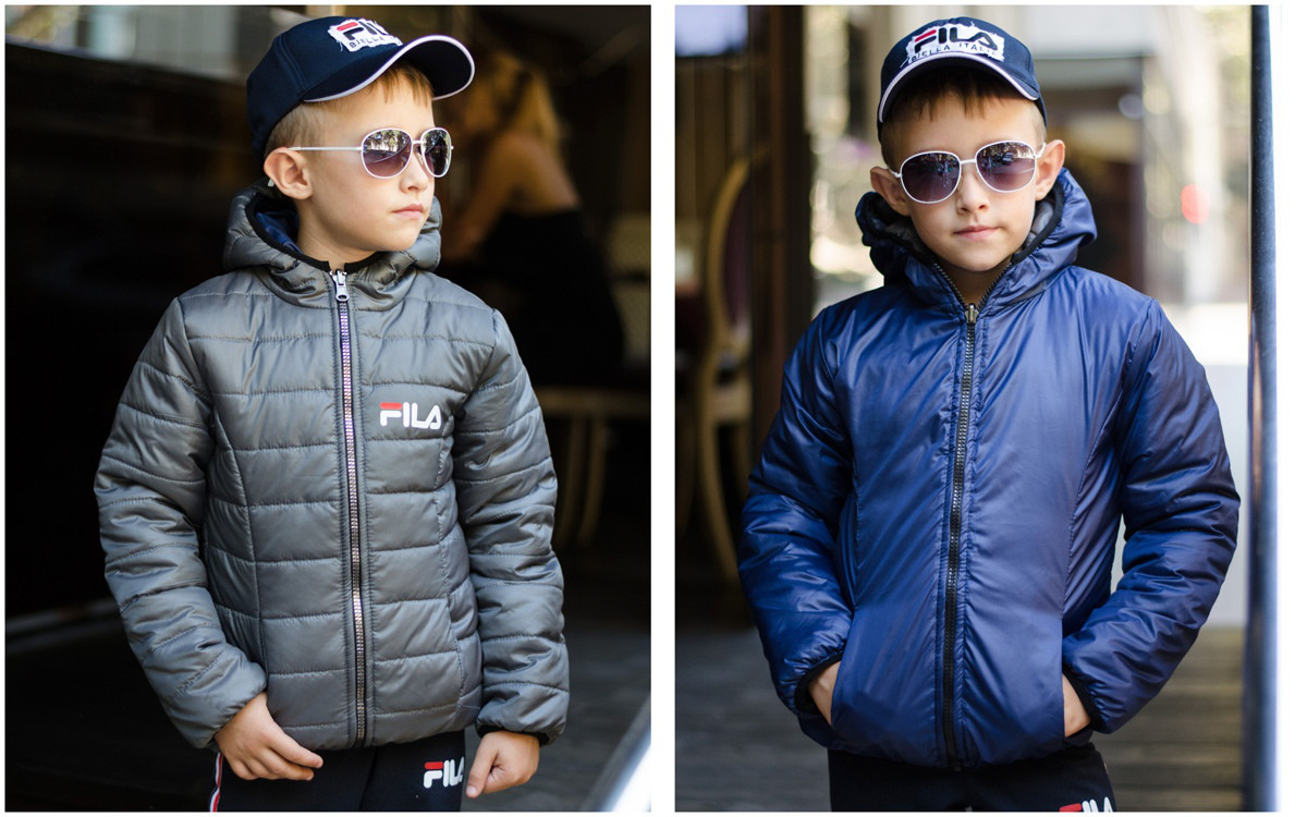 """Детская двухсторонняя демисезонная куртка унисекс """"FILA"""" с капюшоном (6 цветов)"""