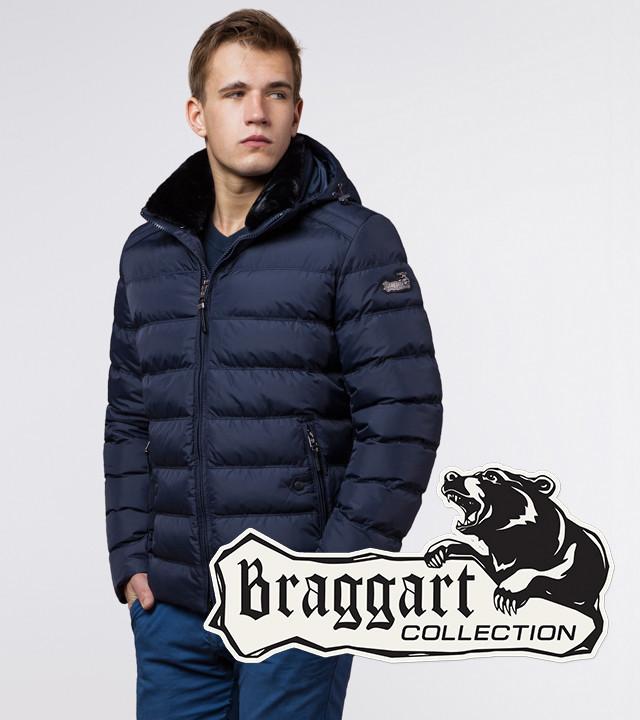Мужская зимняя куртка с меховым воротником Braggart 24324 темно-синяя
