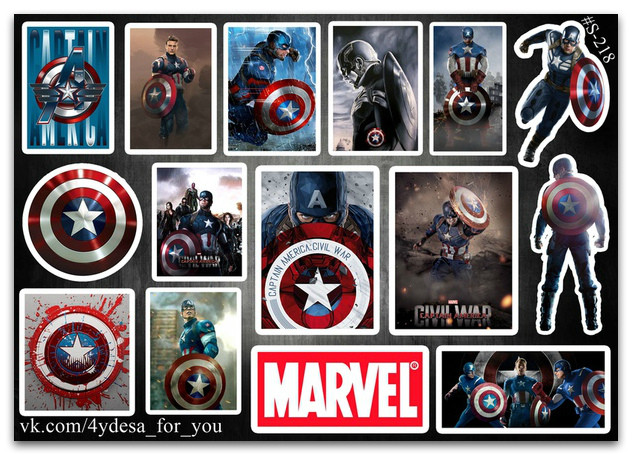 Stickers Pack Captain America, Капитан Америка Marvel #218