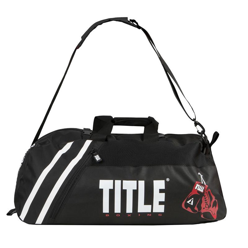 Сумка-рюкзак TITLE Boxing World Champion Sport Черная с белым