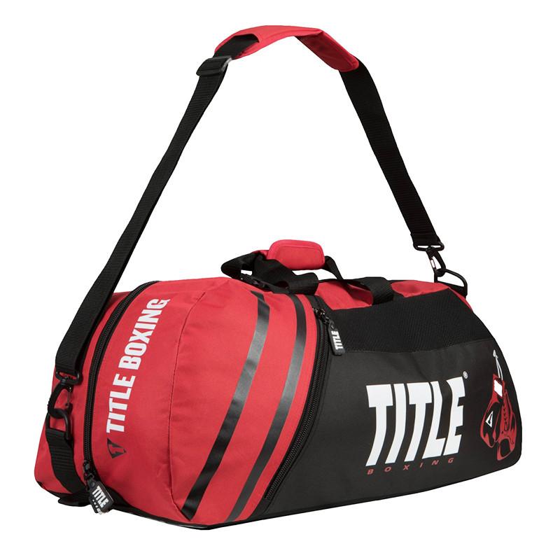 Сумка-рюкзак TITLE Boxing World Champion Sport Черная с красным