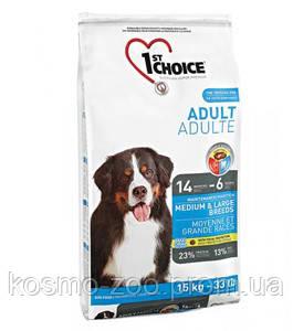 Сухой корм для взрослых собак средних и крупных пород 1st Choice ФЕСТ ЧОЙС с курицей, 15 кг
