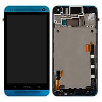 Оригинальный дисплей HTC One M7 801e голубой (LCD экран, тачскрин, стекло, рамка, передняя панель в сборе), Оригінальний дисплей HTC One M7 801e
