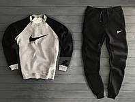 Зимний мужской спортивный костюм Nike серо-черного цвета