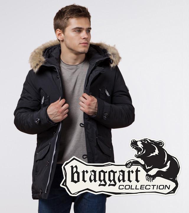 Теплая мужская парка Braggart 38230 черный-серый