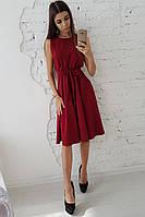 917d3dd68e0 Бордовое платье миди без рукавов приталенное поясом