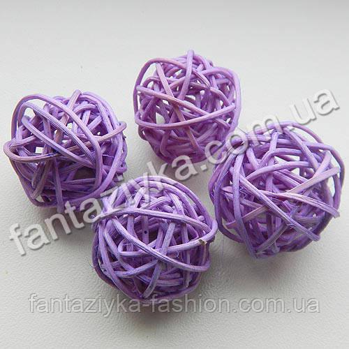 Плетеный шарик из ротанга 30мм, сиреневый