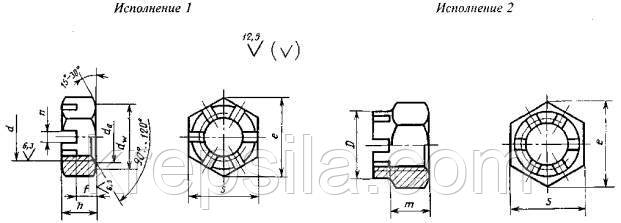 Гайка М22 ГОСТ 5919-73 класс прочности 10.0 - чертеж