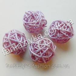 Плетеный шарик из ротанга 30мм, светло-сиреневый