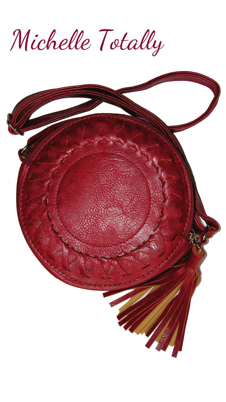 25c62a167c81 Сумка Michelle круглая с кисточкой бахромой светло-розовая,красная,чёрная,  шляпная,