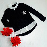 Рубашка-обманка подростковая, трикотаж ангора, размер 128-152, темно синий, фото 1