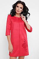 Эффектное красное платье - туника из замши