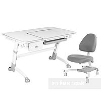 Комплект подростковая парта Amare Grey с выдвижным ящиком + подростковое кресло для дома Ottimo Grey FunDesk